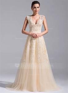 a line princess v neck court train tulle wedding dress With v neck a line wedding dress