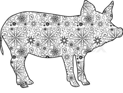 zentangle pig stock vector colourbox