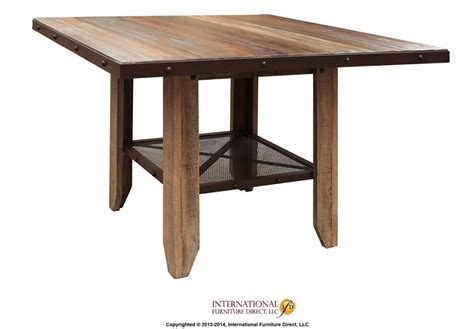 wood counter height dining table counter height dining table solid wood w iron mesh shelf