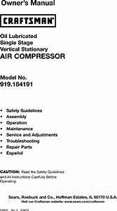 Craftsman 919184191 User Manual Air Compressor Manuals And