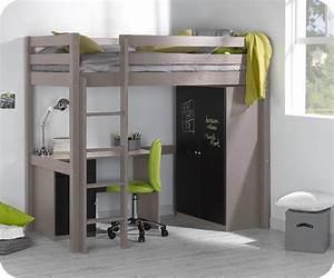 Lit Mezzanine Bureau Enfant : lit enfant mezzanine cargo lin 90x190 cm ~ Teatrodelosmanantiales.com Idées de Décoration