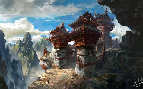 ruined asian mountain outpost illustration building
