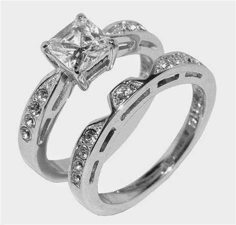 unique womens wedding ring sets rectangle