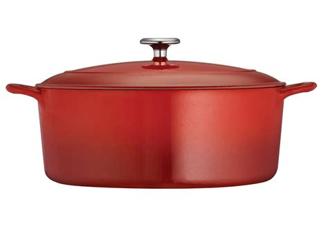 tramontina enameled cast iron oval dutch oven  quart red cutlery
