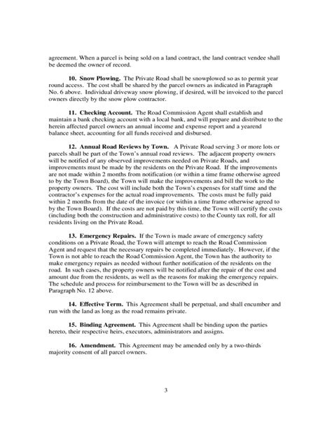 private road maintenance agreement wisconsin
