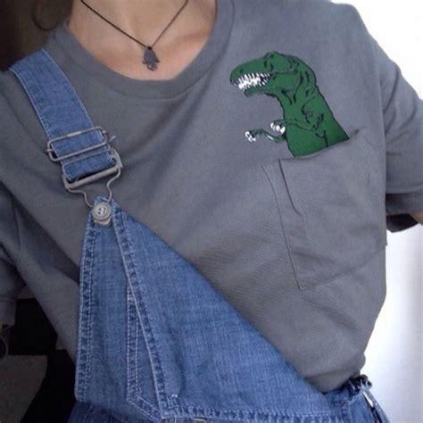 T-shirt shirt grey dinosaur pockets tumblr aesthetic grunge grey t-shirt crocodile ...