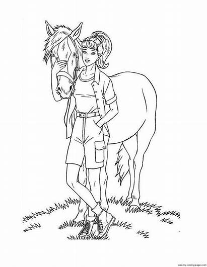 Barbie Coloring Caballo Cavalo Dibujos Desenhos Pintar