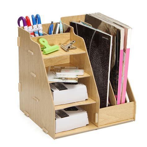 desk with file storage multi use office wood desk organizer file holder rack