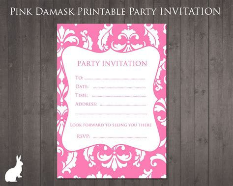 party invitation pink damask party ideas
