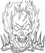 Coloring Rider Ghost Pages Print Ghostrider Cartoon sketch template