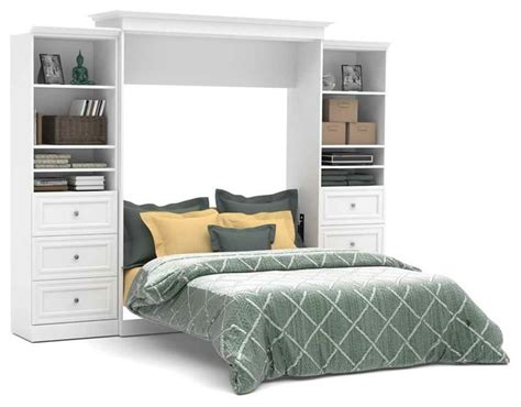 White Murphy Bed by Wall Bed And Storage Units With Drawers In White