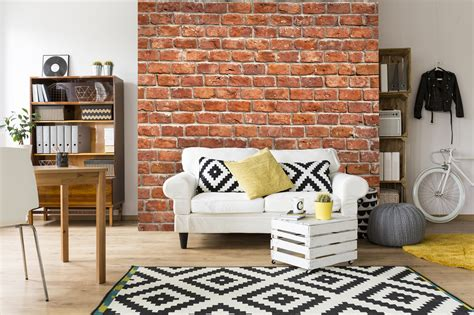 feature brick wall room effect wallsauce suit living rooms any faux walls rust wood along navy