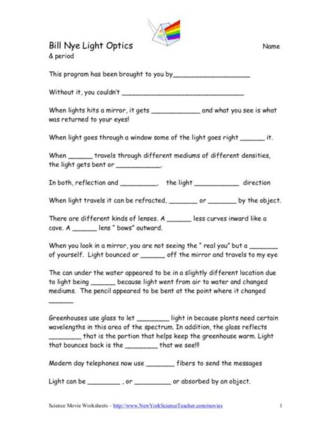 Bill Nye Light Optics Worksheet For 4th  5th Grade  Lesson Planet