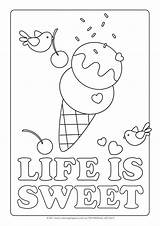 Ice Cream Coloring Pages Printable Cone Colouring Cute Icecream Sheet Sheets Colour Getcoloringpages Sweet sketch template