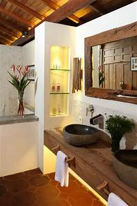 Double sink with floating counter top tropical for Tropical bathroom mirrors