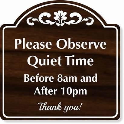 Sign Please Quiet Observe Engraved Plastic Quite
