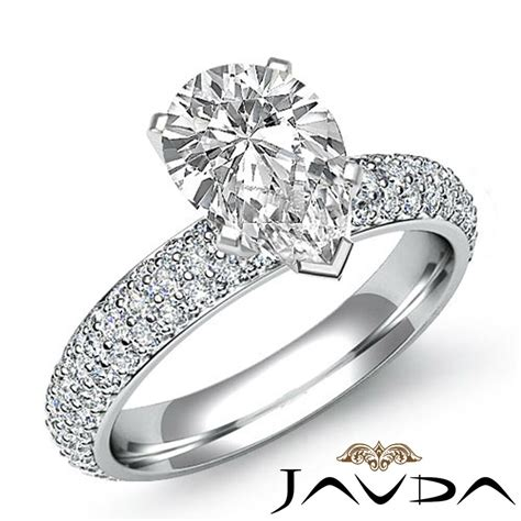 pear shape diamond flashy pave engagement ring gia i color