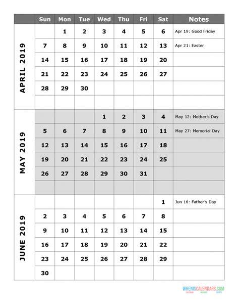 quarterly calendar printable  april  june