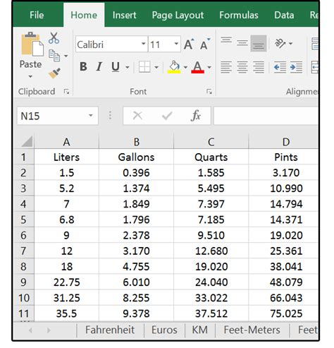 convert gallons to liters how excel can help with metric and american standard conversions pcworld