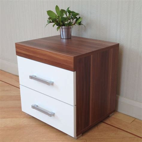 bedroom table with drawers 2 drawer white walnut bedside cabinet table bedroom
