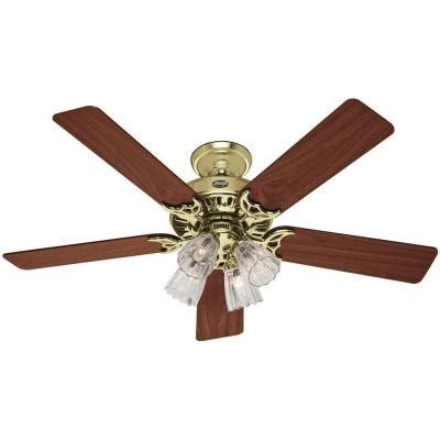 home depot 52 inch ceiling fans hunter studio series 52 in bright brass ceiling fan 53066