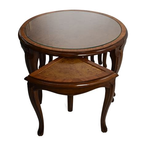 used round glass table top 69 off round glass top coffee table with 4 nesting