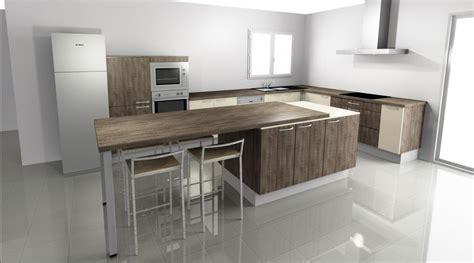 comment construire un ilot central de cuisine simple vue de la cuisine avec la table en ouverture with