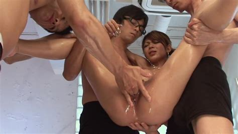 Guys Warm Japanese Girl S Pussy Properly Before Group Sex