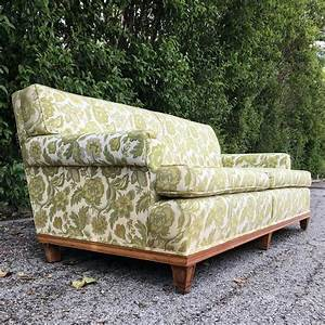 Sold, Vintage, Green, And, White, Floral, Sofa, Mid, Century, Modern, Retro