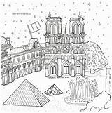 Around Coloring Adult Travel Cityscapes Worlds Colouring Buildings Zdroj Pinu Landmarks sketch template