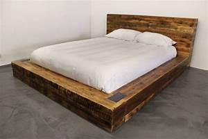 Lit Double Bois : suberbe lit en vieux bois de grange style industriel ~ Premium-room.com Idées de Décoration