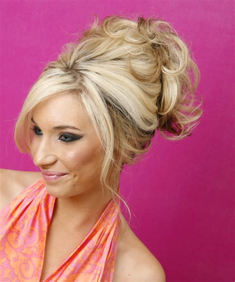long curly light blonde updo