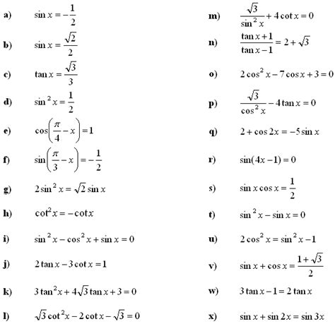 math exercises math problems trigonometric equations