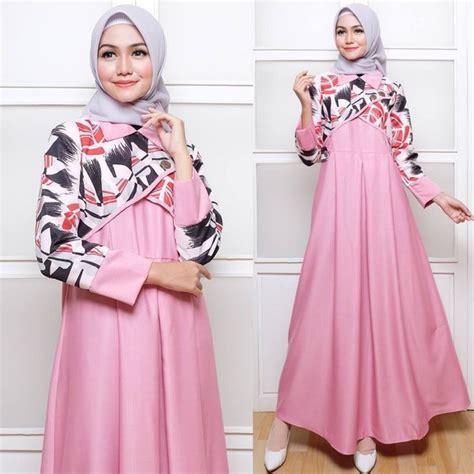 jual baju gamis wanita hanbok pink dress muslim gamis