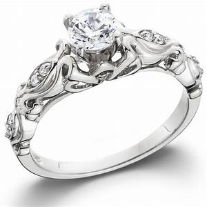 1 2ct vintage diamond solitaire engagement ring 14k white With white gold wedding rings with diamonds