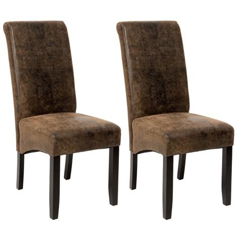 chaises design salle à manger 2 chaises de salle à manger design 105 cm marron aspect