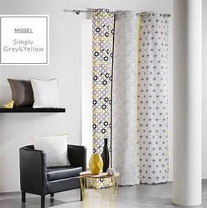 Rideau Jaune Et Gris : dekoracyjne szaro te zas ony skandynawskie z wzorem geometrycznym narzuty ~ Teatrodelosmanantiales.com Idées de Décoration
