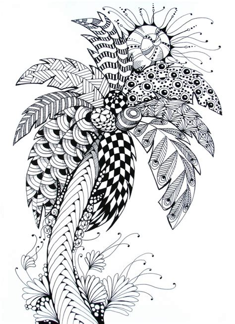 art therapy coloring page summer palm tree