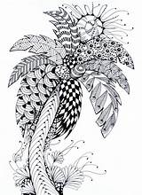 Coloring Palm Tree Summer Pages Therapy Stress Anti Palme Coloriage Ete Adulte sketch template