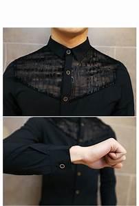 korean fashion slim fit mens lace shirt sleeve