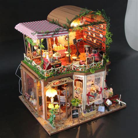 new diy coffee house dollhouse led doll house decor miniature kit gift ebay