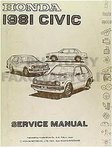 1981 Honda Civic Repair Shop Manual Original