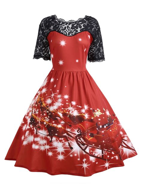red 2xl plus size lace panel midi father christmas party