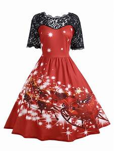 red 2xl plus size lace panel midi father christmas party With robe noel taille 46