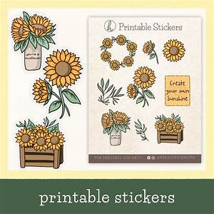 Printable Sunflower Stickers  Aesthetic Stickers  Spring