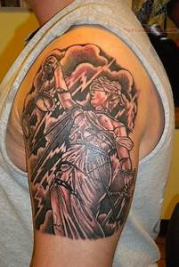 Scales of Justice Tattoo On Shoulder