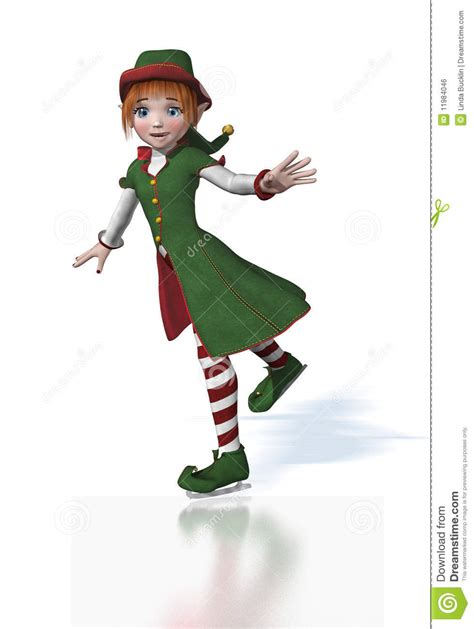 Cute Christmas Elf Ice Skating Stock Illustration Image