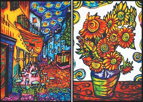 cartellina  disegno  velluto da colorare van gogh