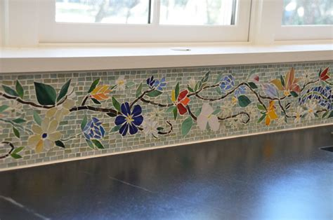 how to do backsplash tile in kitchen floral mosaic border for kitchen designer glass mosaics