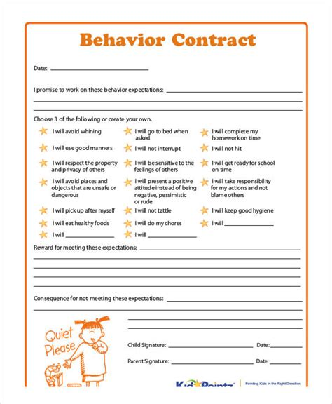 behavior contract template for adults behavior contract template 11 free sle exle format free premium templates